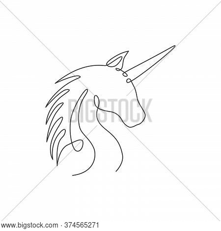 Single Continuous Line Drawing Of Beautiful Unicorn Head For Corporate Logo Identity. Kids Cute Fant