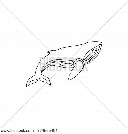 One Single Line Drawing Of Big Fish Whale For Company Logo Identity. Giant Creature Mammal Animal Ma