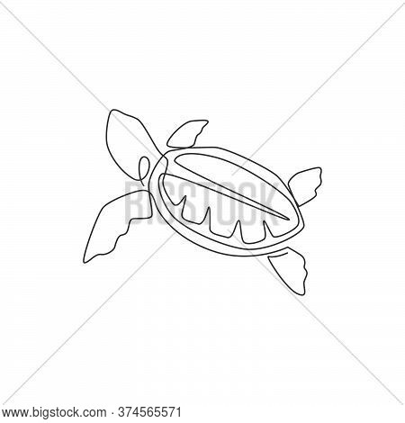 One Single Line Drawing Of Big Turtle For Marine Company Logo Identity. Adorable Tortoise Creature R