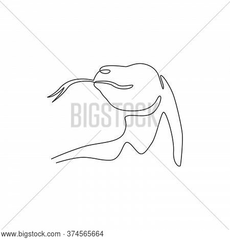 Single Continuous Line Drawing Of Komodo Dragon Head For Adventure Organization Logo Identity. Wild