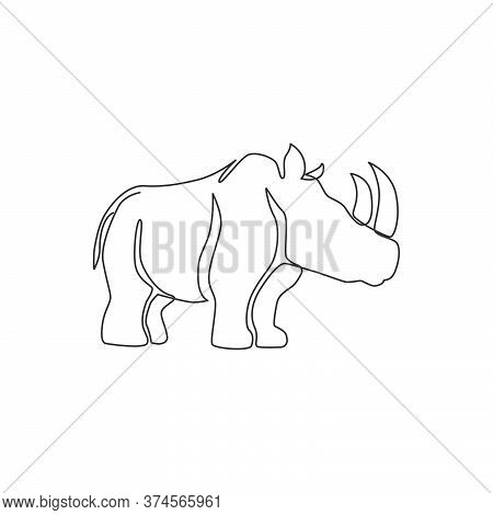 One Single Line Drawing Of Strong Rhinoceros For Conservation National Park Logo Identity. Big Afric