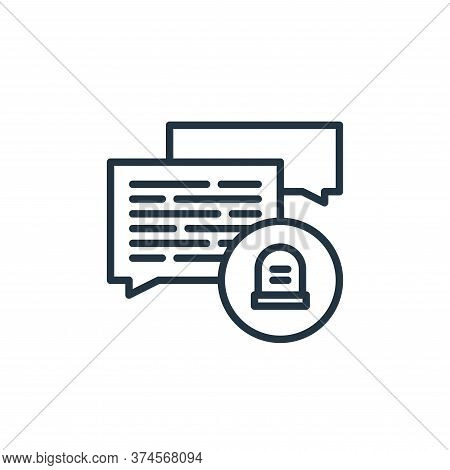 talk icon isolated on white background from funeral collection. talk icon trendy and modern talk sym