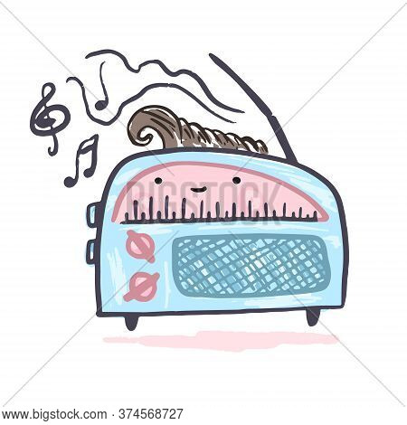 Cute Kawaii Vector Blue And Pink Radio Symbol. Cartoon Vintage Music Player With Eyes Drawing In Ske