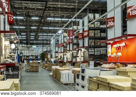 Sydney, Australia - May 26, 2019: The Warehouse Department Of The Ikea Store At Rhodes. Showcasing I