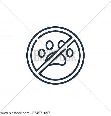 no pets icon isolated on white background from signals and prohibitions collection. no pets icon tre