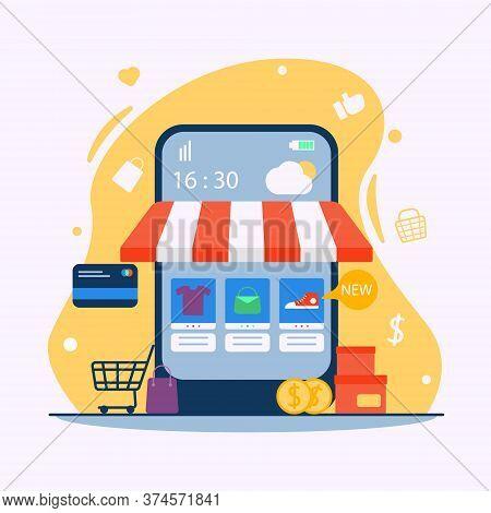 Online Shop Illustration, E-commerce In Flat Design