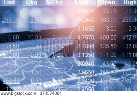 Stock Market Graph And Business Financial Data View On Led. Business Graph And Stock Financial Indic