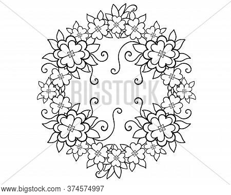 Wreath. Floral Arrangement With Leaves, Shoots And Flowers - Vector Linear Picture For Coloring. Out