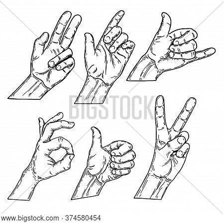 Set Of Paths Drawing Hand Gestures, Sketch Vector Illustration. Hand Drawn Vector Sketch Collection
