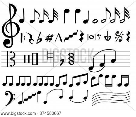 Music Notes. Music Notes Icons. Musical Note Silhouettes, Abstract Music Melody Signs Isolated On Wh