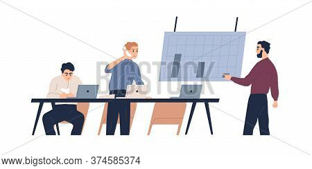Team Of Male Coworkers Discuss Graph Of Company Bankruptcy Vector Flat Illustration. Man Boss Shouti