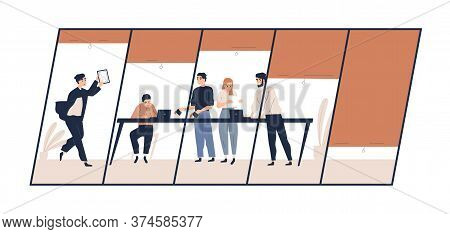 Stressed Businessman Pointing At Profit Drop Graph On Tablet Showing Colleagues Vector Flat Illustra