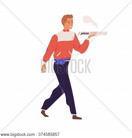 Male Courier Carrying Box With Tasty Hot Pizza Vector Flat Illustration. Smiling Deliveryman Bring F