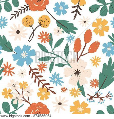 Colorful Romantic Hand Drawn Flowers Seamless Pattern. Elegant Blooming Garden Flower With Branches,
