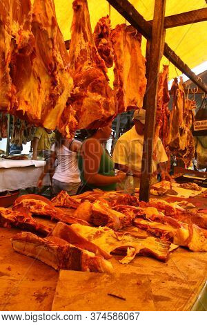 Itabuna, Bahia / Brazil - November 26, 2011: Marketer Is Seen Selling Non-refrigerated Beef In A Mea