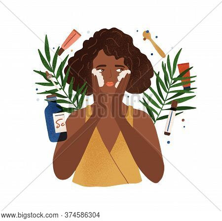 Cute African American Young Woman Applying Foamy Composition Wash Face Vector Flat Illustration. Fem