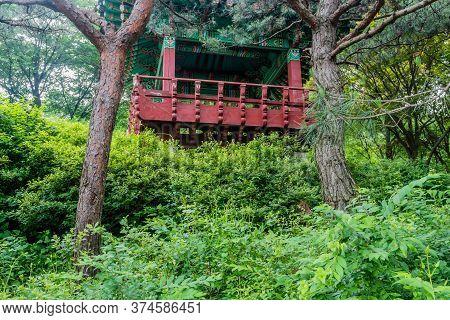 Oriental Picnic Pavilion On Hillside In Mountainous Recreational Forest.