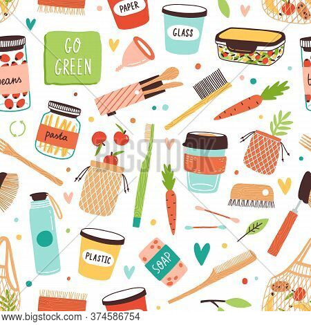 Different Zero Waste Care Elements, Food And Dishes Vector Flat Illustration. Colorful Various Durab