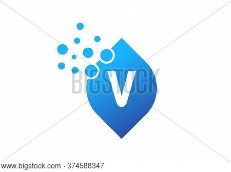 Abstract Letter V Logo Design With Creative Modern Trendy. Water Drop Concept. Awesome V Logo Design