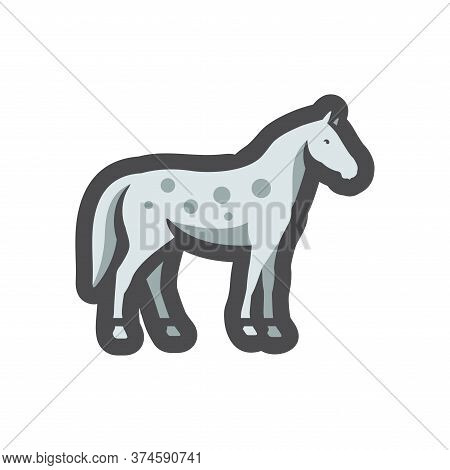 Spotted Gray Horse. Equine. Vector Cartoon Illustration
