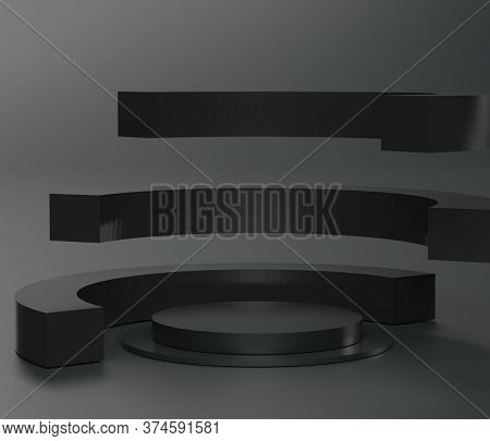 3d Abstract Minimal Geometric Forms. Glossy Luxury Podium For Your Design. Fashion Show Stage, Shopf