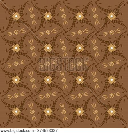 Simple Art Work Flower Motifs On Javanese Batik With Modern Brown Color Design