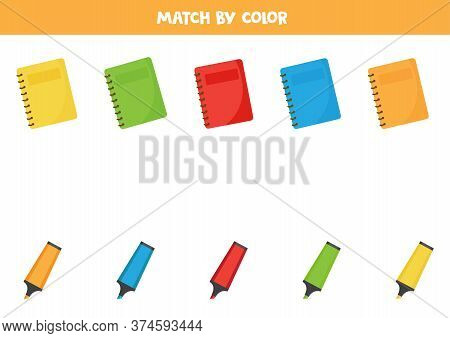 Color Sorting Game For Kids. Matching Notebooks And Highlighters.