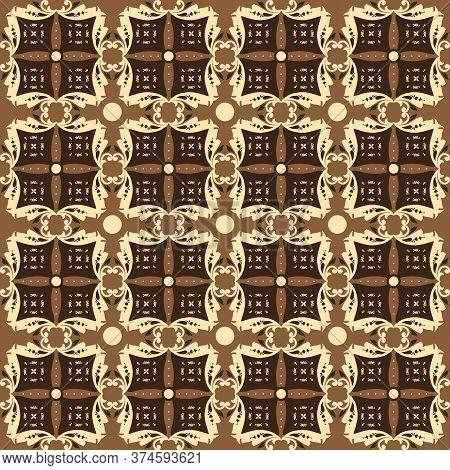 Modern Motifs Design On Central Java Batik With Golden Brown Color