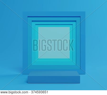 3d Abstract Minimalist Geometric Forms. Blue Gradients Square Luxury Podium For Your Design In Trend
