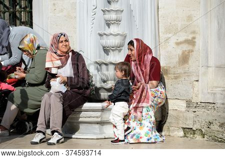 Istanbul,turkey - November 4, 2019:pilgrims At The Main Muslim Shrine Of Turkey-sultan Eyup Mosque I