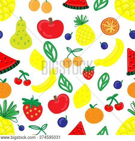 Vector Seamless Pattern, Funny Primitive Bright Fruits And Berries On A White Background
