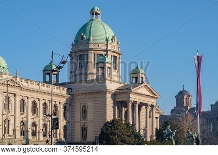 Belgrade / Serbia - December 2, 2018: National Assembly Of The Republic Of Serbia, Parliament Of Ser