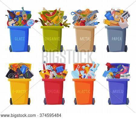 Waste Sorting, Set Of Trash Cans With Sorted Garbage, Segregation And Separation Rubbish Disposal Re