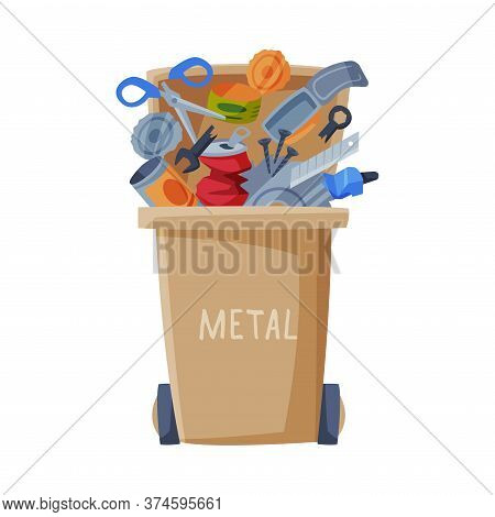 Waste Sorting, Trash Can With Metal Sorted Garbage, Segregation And Separation Rubbish Disposal Refu