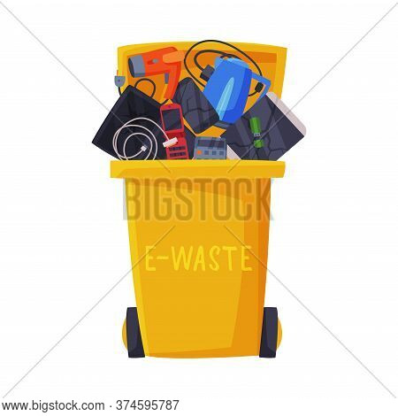 Waste Sorting, Trash Can With Sorted E-waste Garbage, Segregation And Separation Rubbish Disposal Re