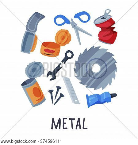 Metal Waste Sorting, Segregation And Separation Of Garbage Vector Illustration On White Background