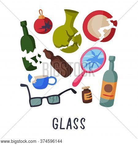 Glass Waste Sorting, Segregation And Separation Of Garbage Vector Illustration On White Background