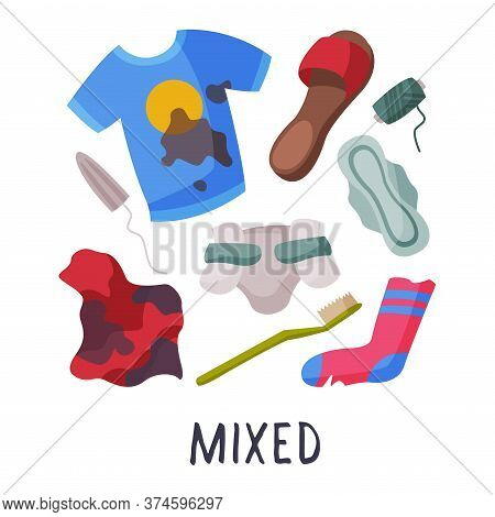 Mixed Waste, Sorting, Segregation And Separation Of Garbage Vector Illustration On White Background