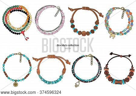 Collection Of Handmade Bracelets In Ethnic Style. Color Vector Illustration Isolated On A White Back