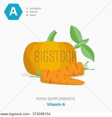 Vector Flat Isolated Icon Of Food Supplements - Vitamin A