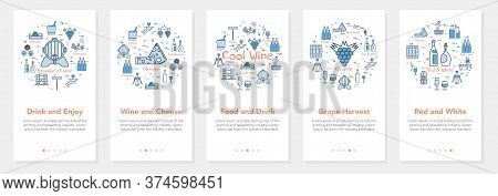 Vertical Five Banners With Line Concept Of Winemaking - Wine And Cheese