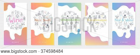 Vertical Five Banners With Line Concept Of Winemaking - Fermentation