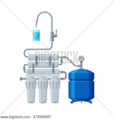 Water Filter System, Special Modern Technologies For Water Purification Vector Illustration On White