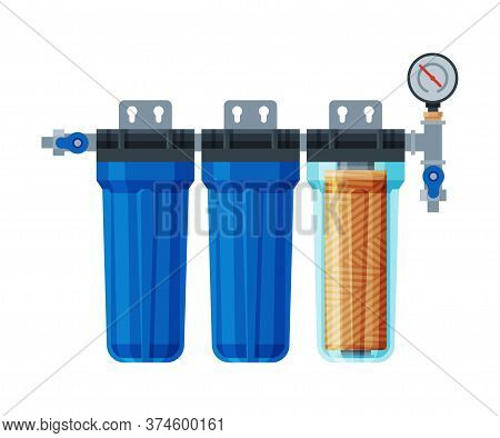 Water Filter, Water Purification Special Modern Technology Equipment Vector Illustration On White Ba