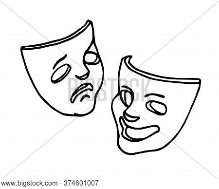 Theatrical Masks Of Comedy And Tragedy, Symbols Of Joke, Fun, Drama, Sadness, Vector Illustration Wi