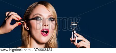 Eyelash Urler. Makeup Artist Applies Mascara To The Eyelashes. Woman Doing Her Make Up Using Black M