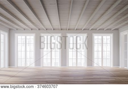 Classical Style Empty Room Interior 3d Render,the Rooms Have Wooden Floors ,gray Walls And White Woo