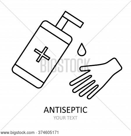 Linear Vector Icon. Hand Is Disinfected With An Antiseptic.  Antiviral Drawing. Illustration On The
