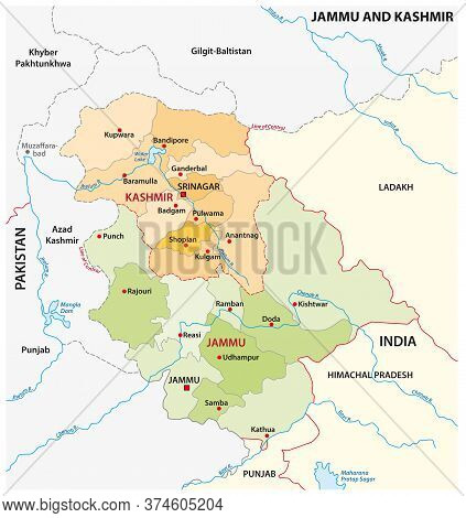 Vector Administrative Map Of The Indian Region Of Jammu And Kashmir