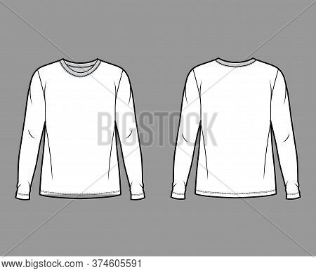 Cotton Jersey Top Technical Fashion Illustration With Crew Neck, Tunic Length Oversized Body Long Sl